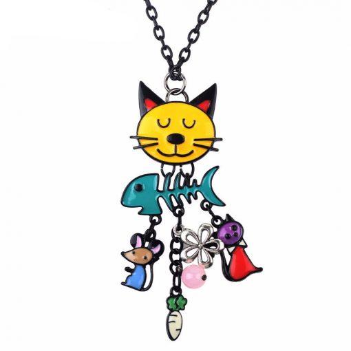 Speelse kat halsketting