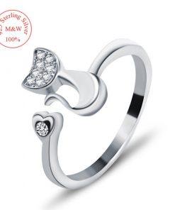 Kat met hart ring (925 Sterling Silver)