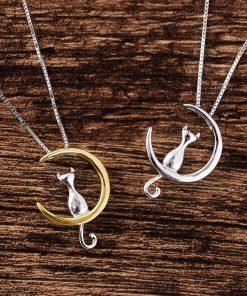 Kat op maan halsketting 925 Sterling Silver (2 variaties)
